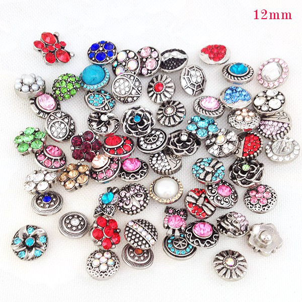 wholesale 50pcs/lot mix styles colors 12mm small button snap jewelry interchangeable ginger snap button charm free ePacket