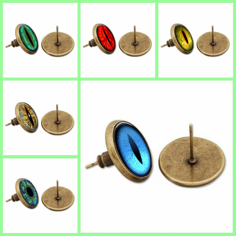 blue yellow mix Dragon eye earring, colorful art picture eye stud earring,a pair Glass Cabochon Dome earrings jewelry,gift CE2(China (Mainland))
