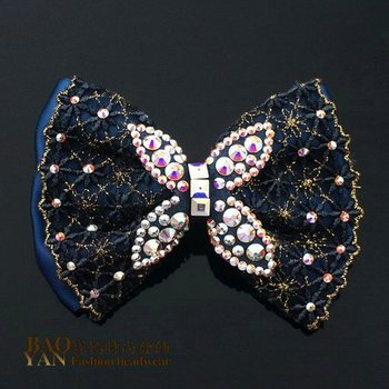 Fabric bow hairpin hair accessory clip rhinestone clip hair accessory clip spring clip