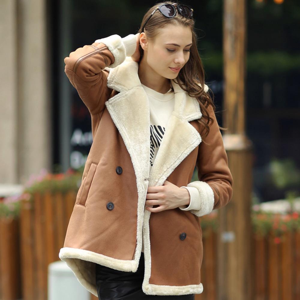 Veri Gude Winter 2014 New Women's Faux Fur Hooded Warm Suede Coat