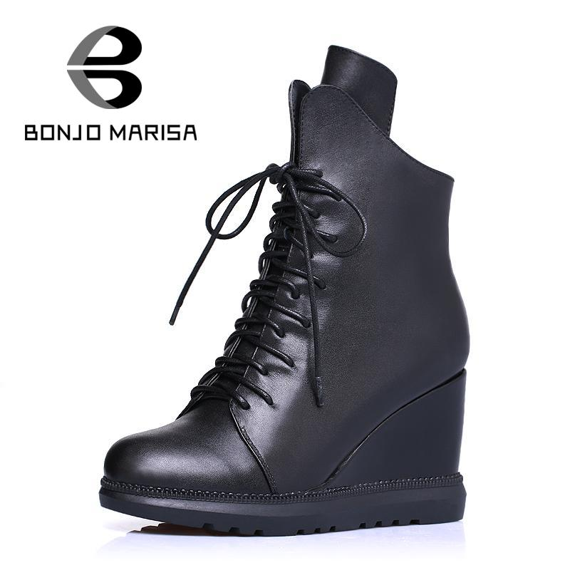 Classics Black Red Shoes For Lady Women Increasing Women Wedges Ankle Boots Lace Up Women Shoes Real Leather Shoes <br><br>Aliexpress