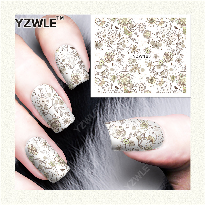 YZWLE 1 Sheet DIY Designer Water Transfer Nails Art Sticker / Nail Water Decals / Nail Stickers Accessories (YZW-163)(China (Mainland))