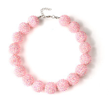 2016 Fashion Chunky Bubblegum Necklace 2Pcs Handmade Pastel Colors Rhinestone Ball Beads Bubble Necklace Toddler Infant