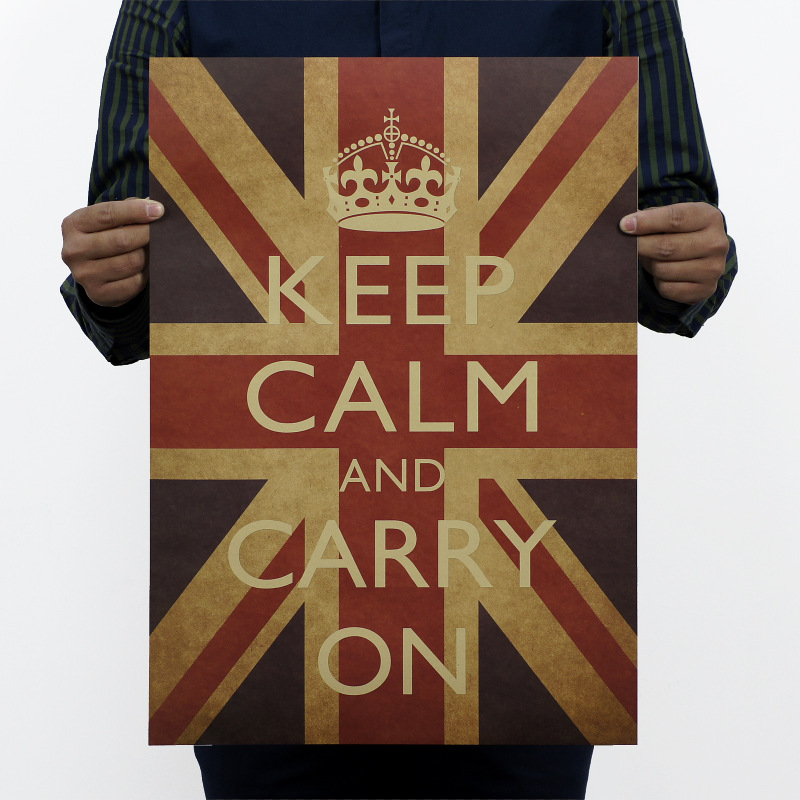 warm powerful popular quote Keep Calm Carry On British world war 2 mobilization adornment vintage poster for home decals sticker(China (Mainland))