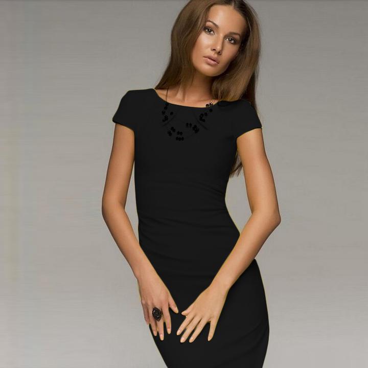 Платье облегающее короткая лето, стиль женщины миди рукав до колена офис дамы