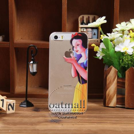 2014 fasion transparent clear hard cover iphone 5 case Snow White Holding logo apple 5s iPhone5s
