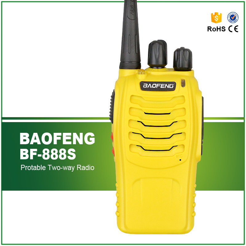 New Arrival Yellow Colour Original 5W Handheld Cheap UHF 400-470MHZ Walky Talky BF-888S(China (Mainland))