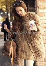 2016 women's o-neck plush bear berber fleece outerwear medium-long fur women's coat