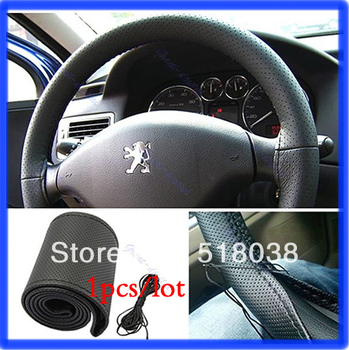A25 Free Shipping Black  Leather DIY Steering Wheel Cover With Needles & Thread