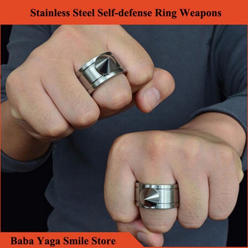 Гаджет  1ps Self-defense Ring Shocker Weapons Product Survival Ring Tool Pocket Women Self Defense Ring Stainless Steel Spike + Chaining None Безопасность и защита