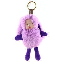 2018 Moda JewelryDoll Brinquedo Do Bebê saco de Dormir Do Bebê Chaveiro Real Rex Fur Pom pom Fofo Da Corrente Chave Do Carro Saco de Chaveiro Trinket para As Mulheres(China)