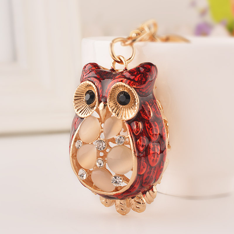 New High Quality Rhinestone Animal Owl Key Rings Crystal Key Finder For Women Purse Trinket Bag Charm Accessories(China (Mainland))