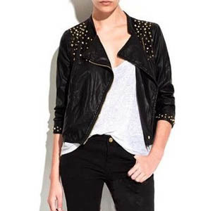New Arrival (white,black) Motorcycle Short Leather Jacket Autumn Brand Punk Rivet Leather Jackets Women 2013