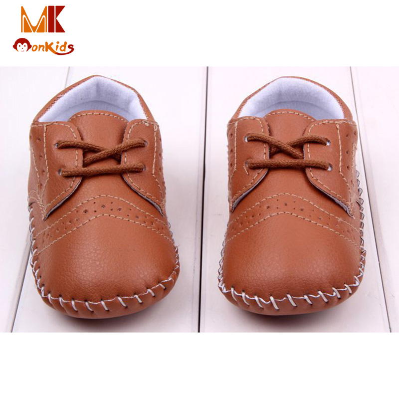 MK New Spring Fashion Baby Shoes England Solid Leather Toddler Moccasins Shallow Infant Boy PU Shoes for Newborns Free Shipping(China (Mainland))