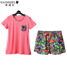 Song Riel brand 2015 summer shorts cute short sleeved pajamas men and women couple home service