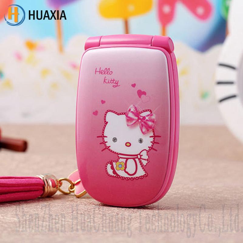 "2016 HOT 1.5"" W88 Flip French Spanish unlocked small women kids girls lady cute hello kitty cartoon mini cell mobile phone K688(China (Mainland))"