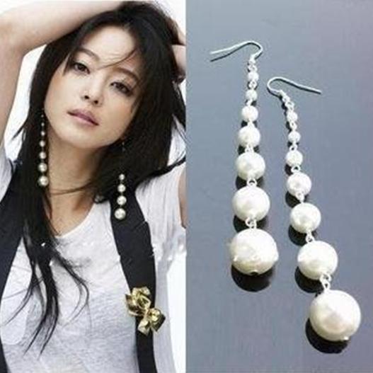 2016 мода Chaming старинные серьги и простой длинные перл мотаться бусины женщины ювелирные изделия E001