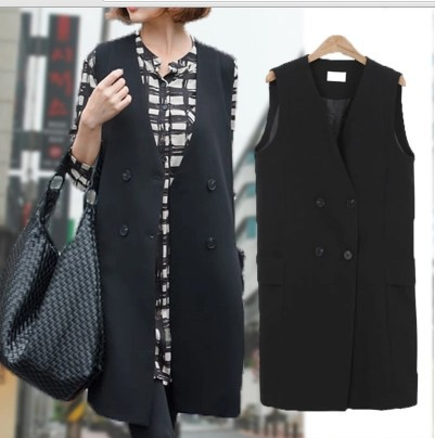 2015 spring new long section of a simple black sleeveless vest suit womens vestОдежда и ак�е��уары<br><br><br>Aliexpress
