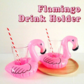 1 PC Mini Cute Pink Flamingo Drink Holder PVC Inflatable Floating Swimming Pool Beach Party Kids