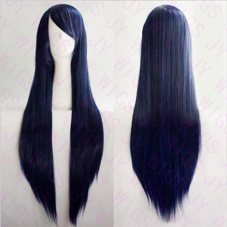 100CM Fashion New Womens Dark Blue Long Straight Full Bangs Wigs Hair Cosplay Costume Wig Hight Quality Free Wig CAP(China (Mainland))