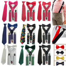 3PCS Children's Boys Baby Colorful Style Bowtie Suspender Set Elastic Adjustable Y-Back Braces Ties Wedding 1-8 Years HHtr0005(China (Mainland))