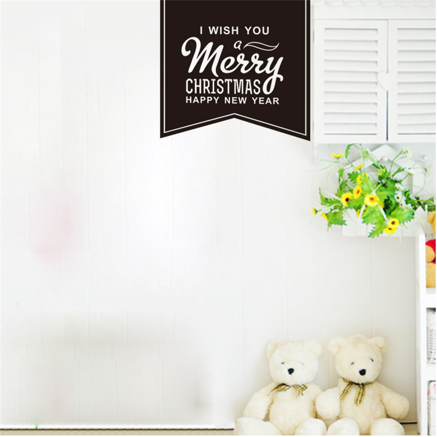 Bedroom Holiday Stickers Merry Christmas Wall Stickers Muraux Muurstickers Creative Happy New Year Home Decor Sdesivo Parede(China (Mainland))