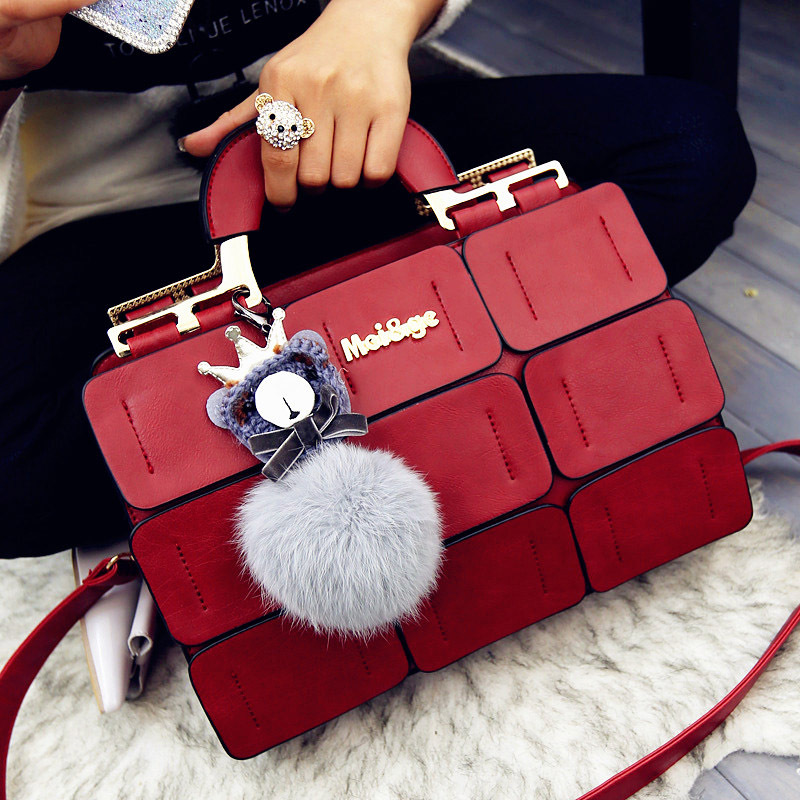 The new spring/summer 2016 women bag suture Boston bag inclined shoulder bag women leather handbags(China (Mainland))