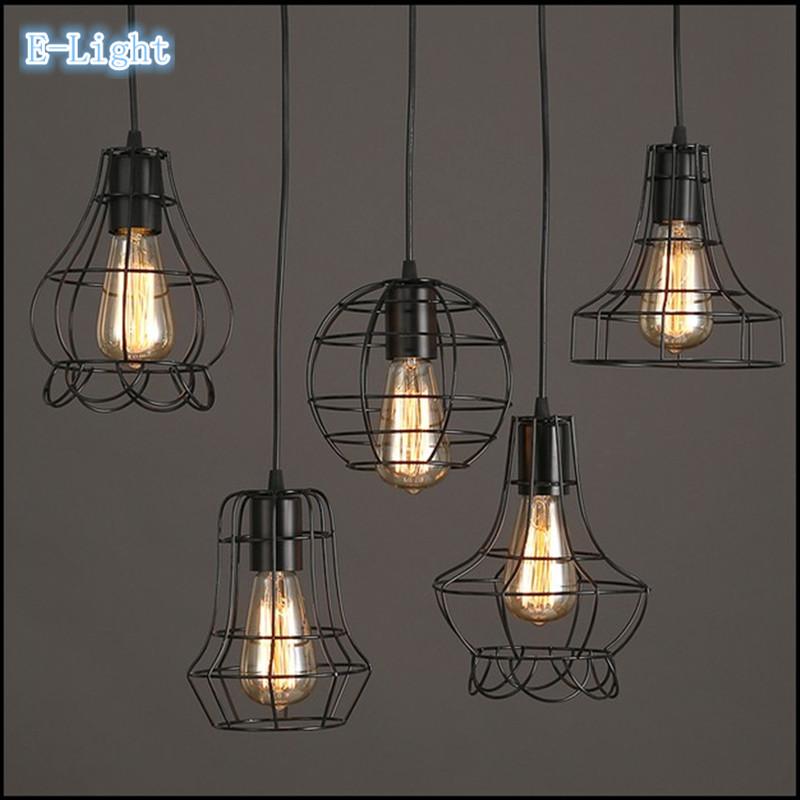 wholesale 5 style Edison bulb Art Iron pendant lamps vintage style pendant lights high quality droplight black free shipping(China (Mainland))