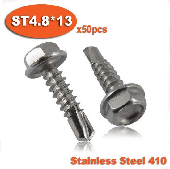 50pcs DIN7504K ST4.8 x 13 410 Stainless Steel Hexagon Hex Head Self Drilling Screw Screws<br><br>Aliexpress