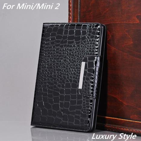 Freeshipping New fashion crocodile Pu leather case cover Flip Stand Case Smart Cover For Apple ipad mini ipad mini 2 Retina Bags(China (Mainland))