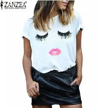 Zanzea nueva llegada 2016 del verano mujeres del estilo elegante pestañas Lip imprimir flojo ocasional O cuello sencilla blanco Top Tees Blusas