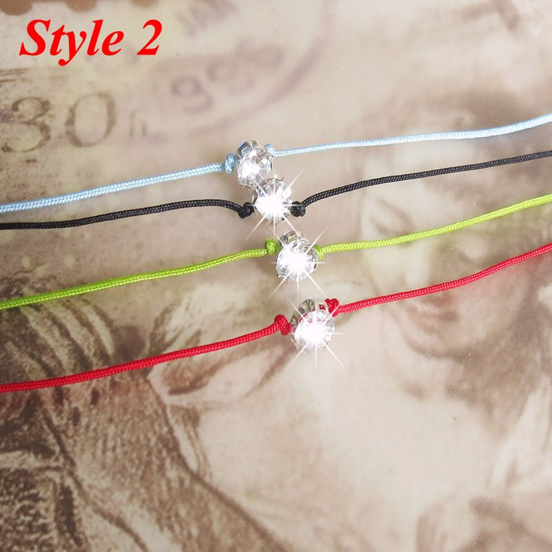 Amazing 3 Style 4 Color Mrs. Fashion Baubles 6mm Brilliant Zircon 42cm Luck Red Thread Bracelet Rope String Knit Charm Bracelets