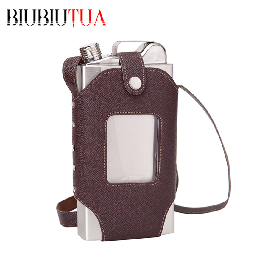 BIUBIUTUA Big Capacity 35 OZ Stainless Steel Whiskey Flasks Removable Brown Transparent Holster Buckle Hip Flask Men Portable(China (Mainland))