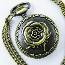 Free shipping 40pcs/lot Vintage Antique Rose Women Necklace Pocket Watch Xmas Gifts