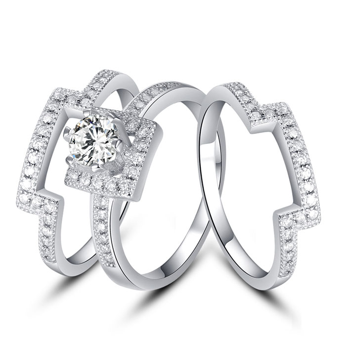 Exclusive Three-In-One Women Ring For Party 925 Silver Use Clear Austrian Crystal CZ Diamond Ring Female Rings K67-40(China (Mainland))