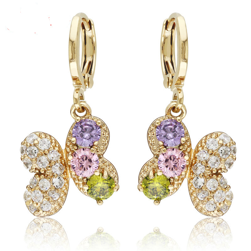 18K Gold Filled Drop Earrings Ladies Zircon Long Earings Fashion Jewelry Multi Colour Butterfly Fashion Jewelry SAE-0139(China (Mainland))