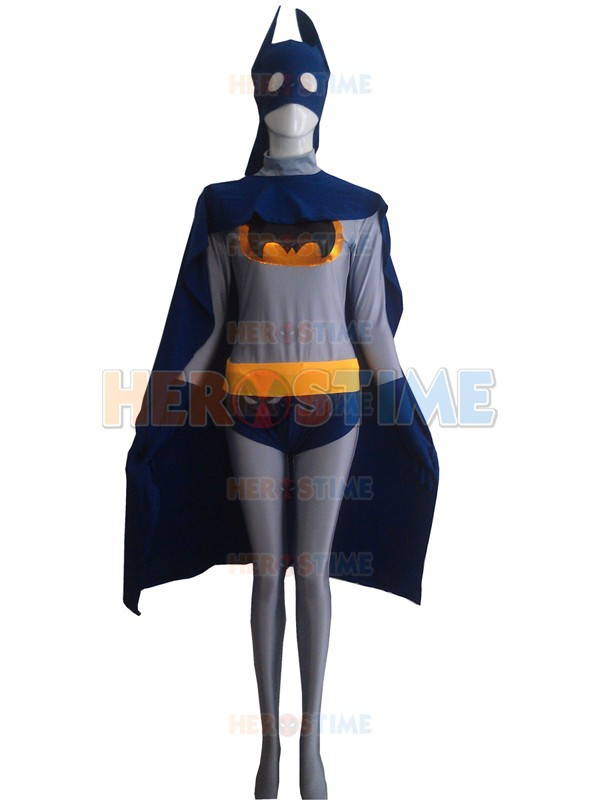 2015 Navy Blue & Grey Batman Superhero Costume fullbody female adult halloween cosplay costumes zentai suits