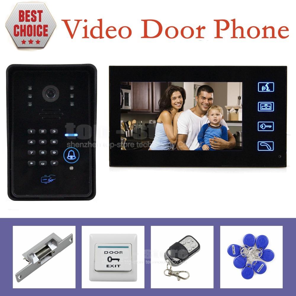 Strike Lock 7 Inch Monitor Video Door Phone Intercom System with Remote Control IR Keypad RFID Reader Weatherproof Cover Camera(China (Mainland))