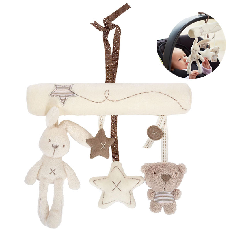Cute Cartoon Rabbit Musical Baby Toys Bed Crib Car Safety Seat Plush Toy Soft Multifuncational Hanging Rattles Mobile Gifts Toys(China (Mainland))