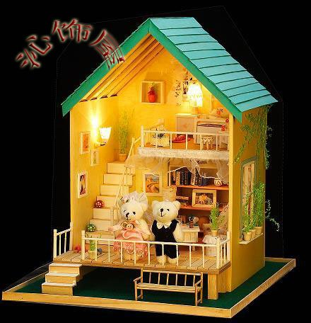 2014 Diy House Wooden Dollhouse 3d Puzzle Furnitures Riptide Modelist Learning & Education Handmade Building Kit Toy To Kids(China (Mainland))