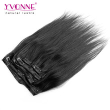 7Pcs/set Brazilian Straight Hair Extension,Color #1B Natural Hair Clip In Human Hair Extension,12-28 Inches in Stock(China (Mainland))