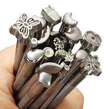 Zinc Leather Tools 20pcs/LOT DIY Leather Working Saddle Making Tools Set Carving Leather Craft Stamps Set Craft EQC952