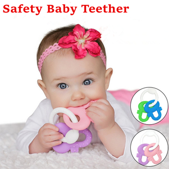 Silicone Baby Teether Safety Children Teething Massager Infant Training Tooth Cute Bijtring Toys BPA Free 1PC