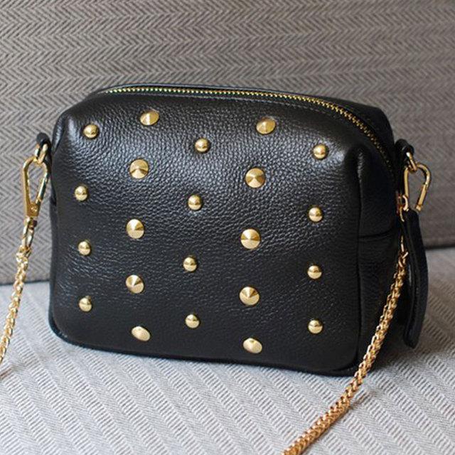 Самая низкая цена! новая мода Заклепки женщины плеча сумка кожа Кожа PU является ...