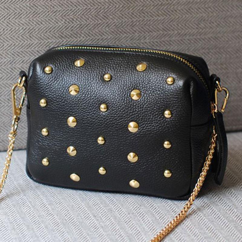 Гаджет  New fashion punk Rivet women handbag shoulder bag PU leather solid color chain bag designer luxury women messenger bag None Камера и Сумки