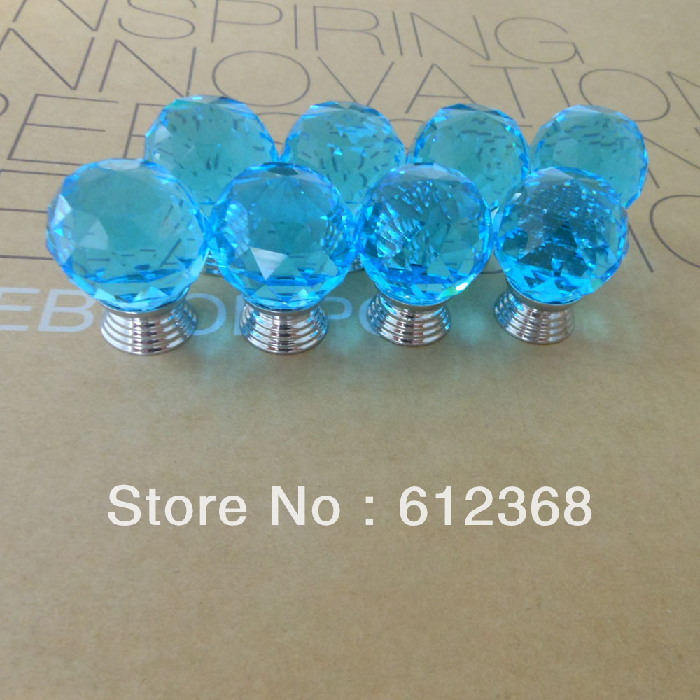 50PCS 30mm Top Quality K9 Crystal Glass Door Knobs Drawer Cabinet Furniture Kitchen Handle Free Shipping -Blues<br><br>Aliexpress