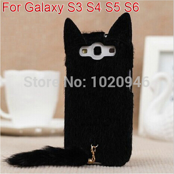 Korean 3D Cute Plush Cat Ear Tail Case Cover For Samsung Galaxy S3 i9300 S4 S5 S6 Black White Pink Rose Colors Free Shipping(China (Mainland))