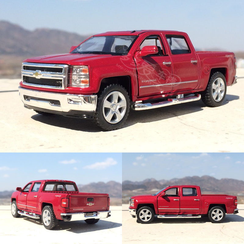 Brand New KiNSMART 1/46 Scale Chevrolet Silverado Pickup Truck Diecast Metal Pull Back Car Model Toy For Gift Kids Collection(China (Mainland))