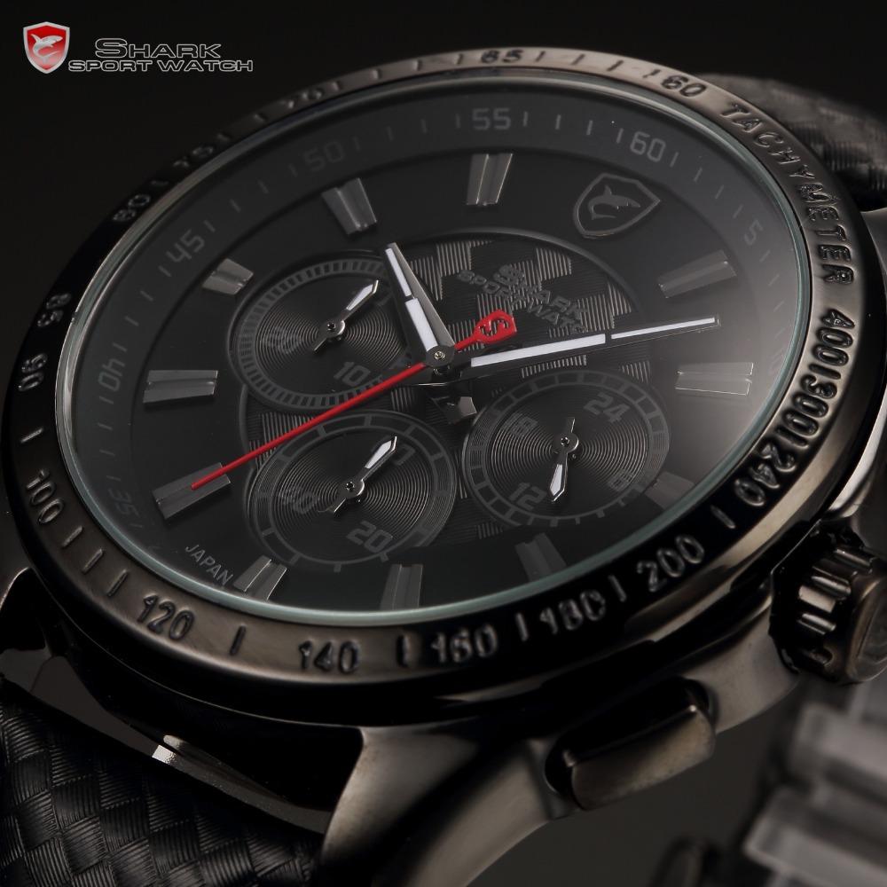Shark Brand New Mens Relogio Black Chronograph Dial Geniune Leather Band Clock Quartz Military Sport Men Casual Wristwatch/SH227(China (Mainland))