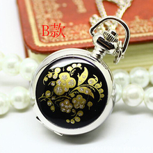 Europe and the United States selling concise fashion small Enamel Black Pentagram flowers quartz Pocket Watch